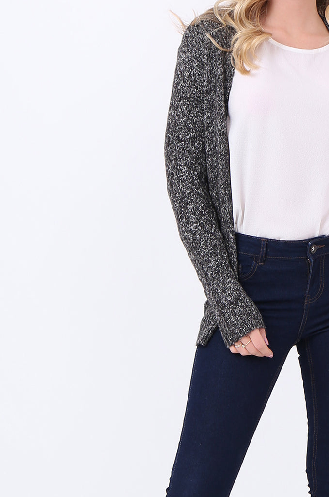 SF2105-BLACK TWEEDY EDGE TO EDGE CARDIGAN view 5