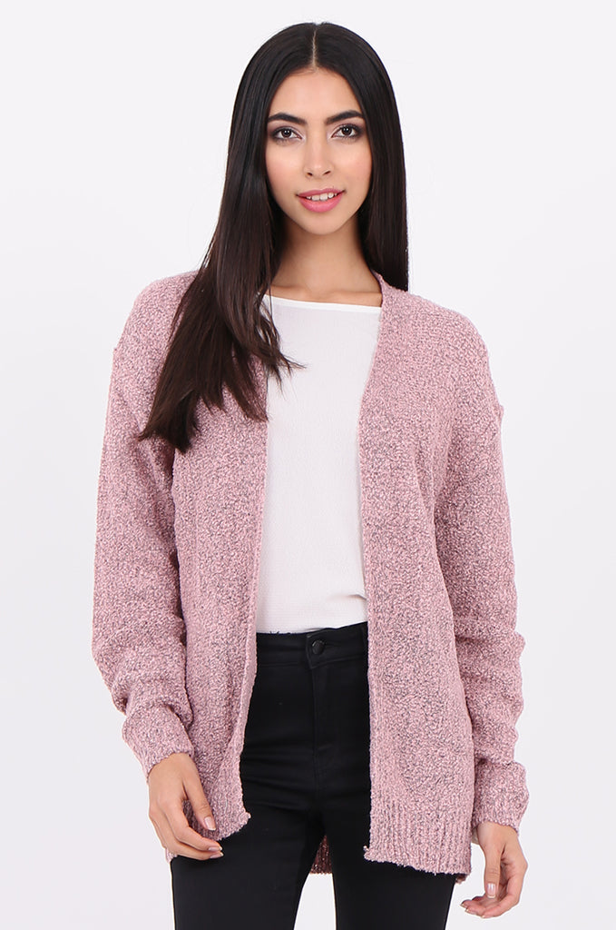 SF2146-BABY PINK BOUCLE OPEN FRONT CARDIGAN