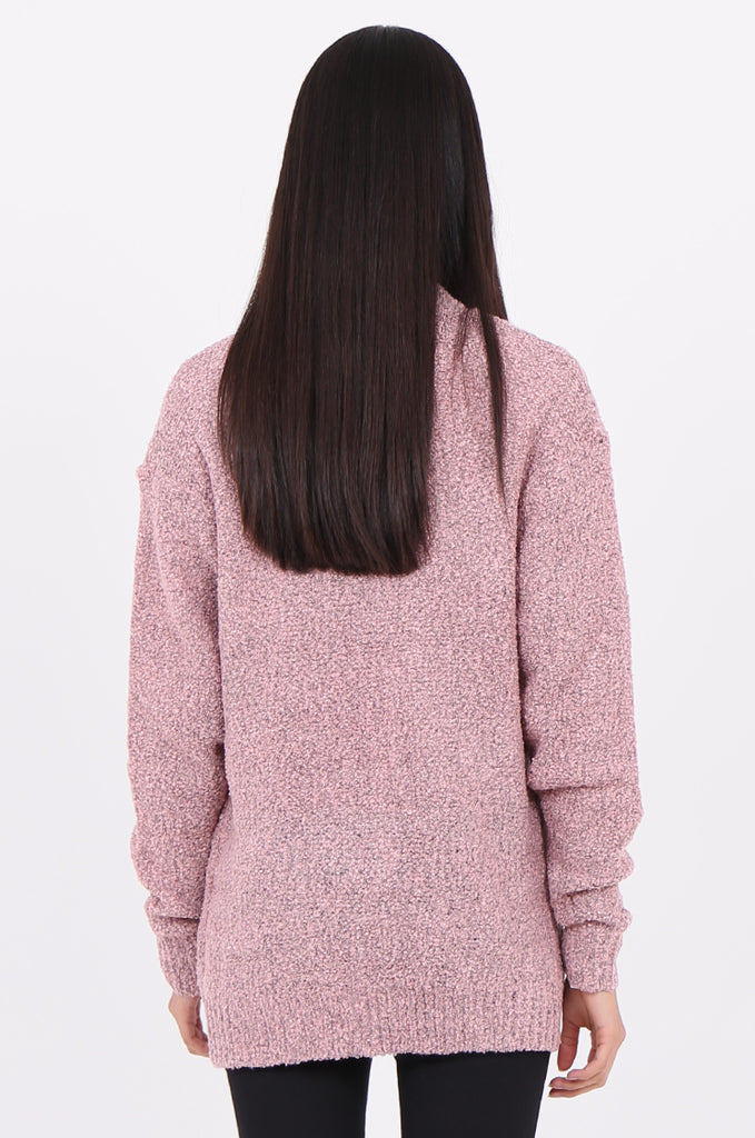 SF2146-BABY PINK BOUCLE OPEN FRONT CARDIGAN view 3