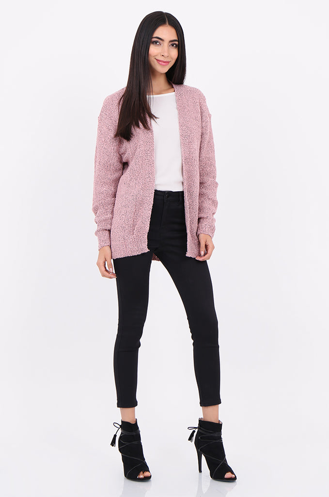 SF2146-BABY PINK BOUCLE OPEN FRONT CARDIGAN view 4