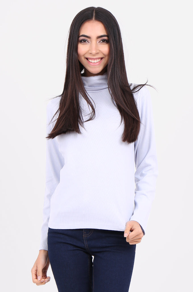 SF2147-BABY BLUE RIB TURTLENECK BASIC TOP