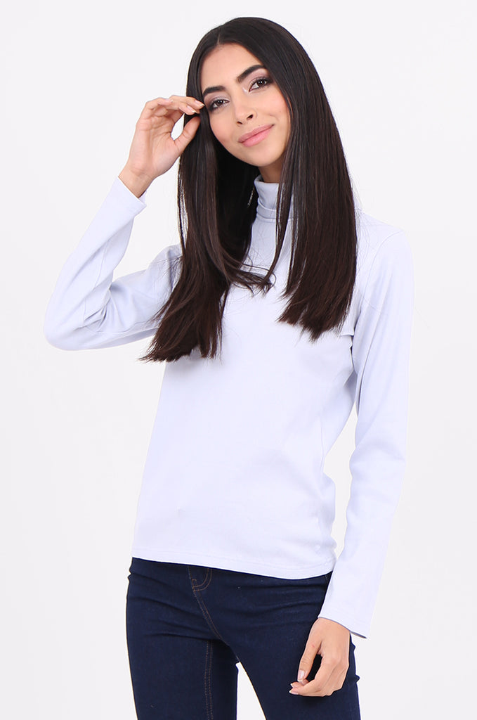 SF2147-BABY BLUE RIB TURTLENECK BASIC TOP view 2