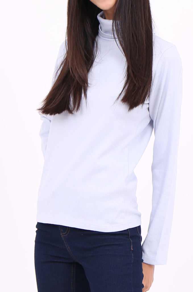 SF2147-BABY BLUE RIB TURTLENECK BASIC TOP view 5
