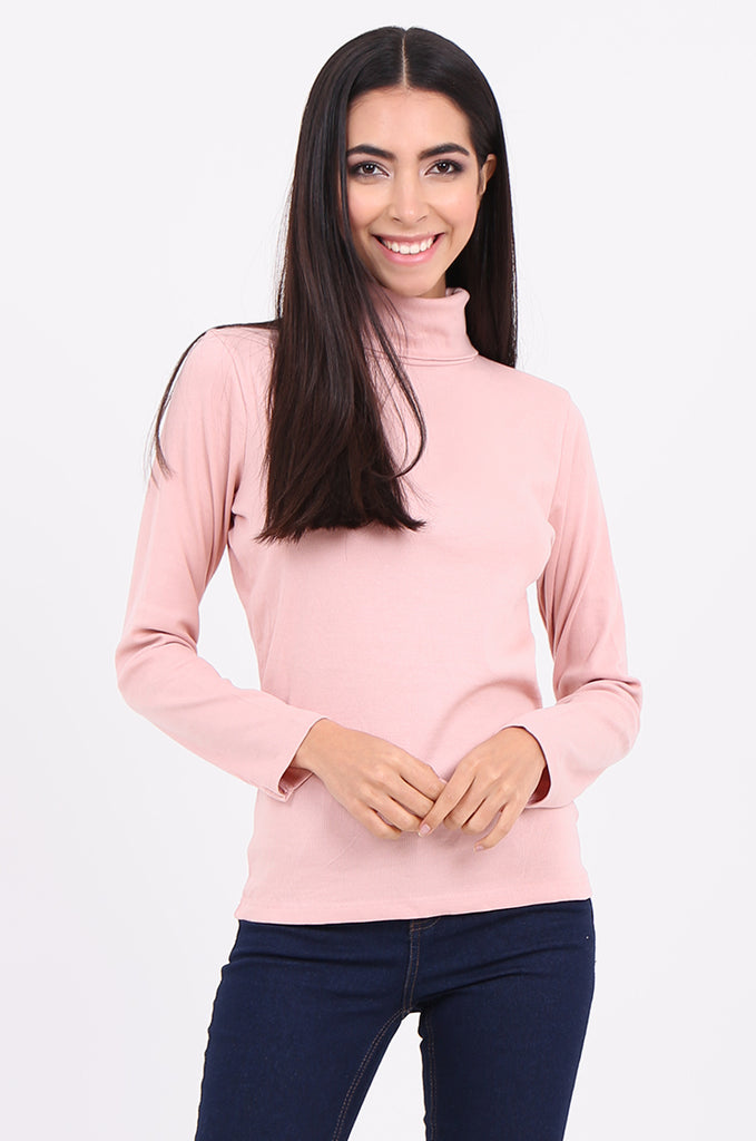 SF2147-BABY PINK RIB TURTLENECK BASIC TOP