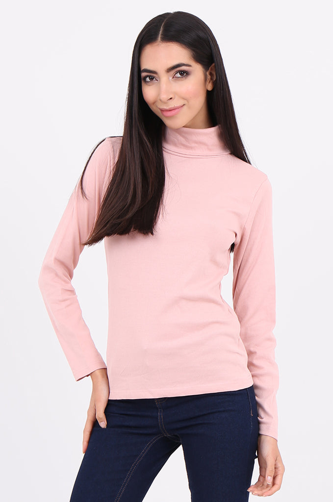 SF2147-BABY PINK RIB TURTLENECK BASIC TOP view 2