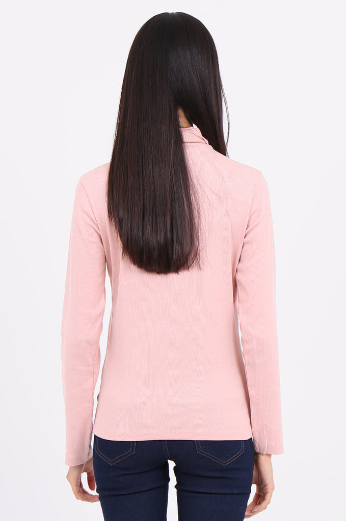 SF2147-BABY PINK RIB TURTLENECK BASIC TOP view 3