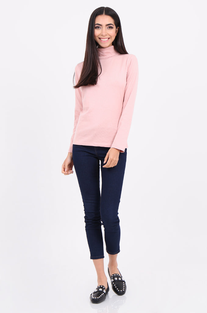 SF2147-BABY PINK RIB TURTLENECK BASIC TOP view 4
