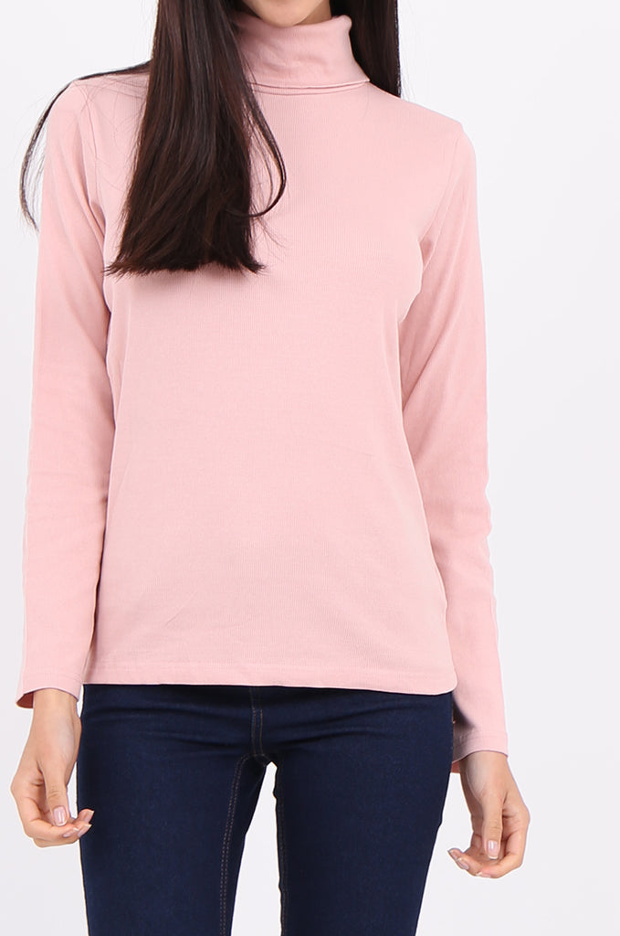 SF2147-BABY PINK RIB TURTLENECK BASIC TOP view 5