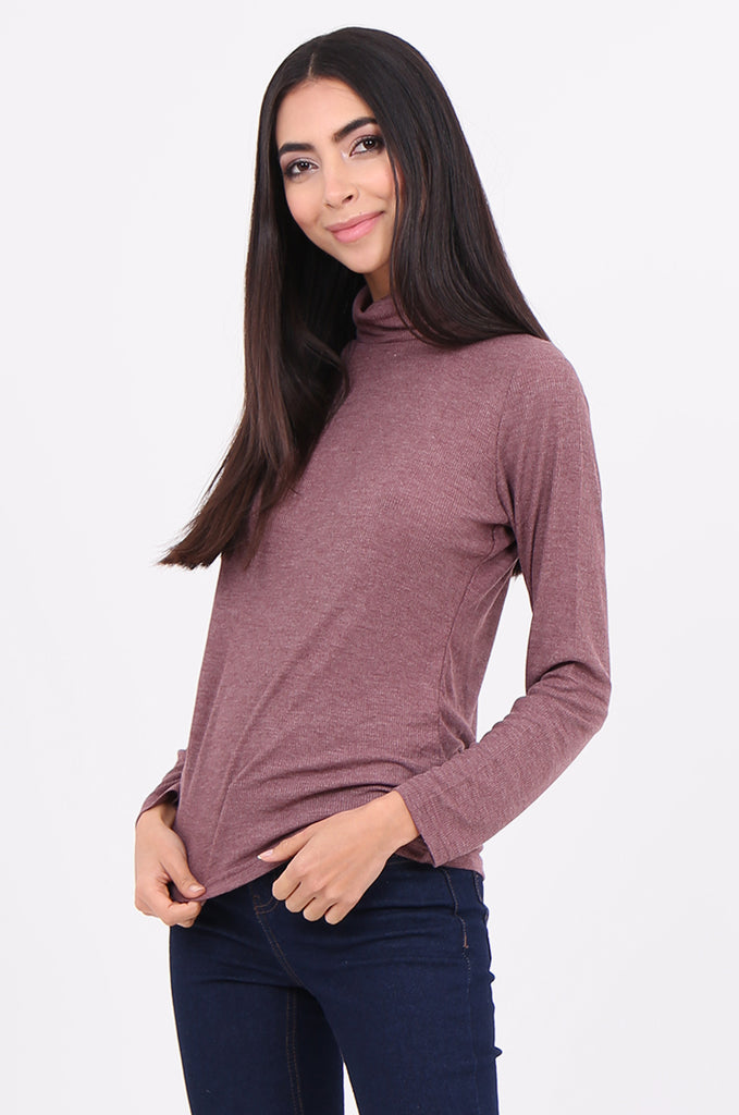 SF2147-WINE RIB TURTLENECK BASIC TOP view 2