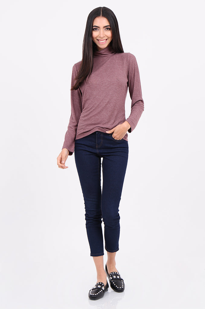 SF2147-WINE RIB TURTLENECK BASIC TOP view 4