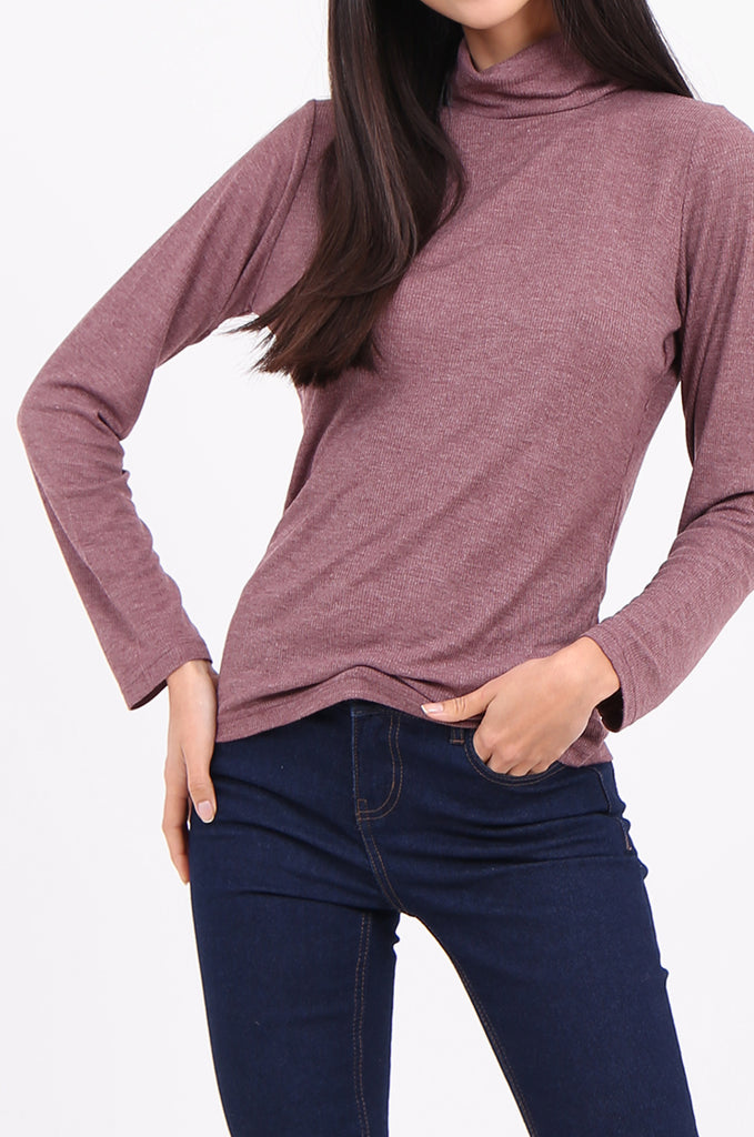 SF2147-WINE RIB TURTLENECK BASIC TOP view 5