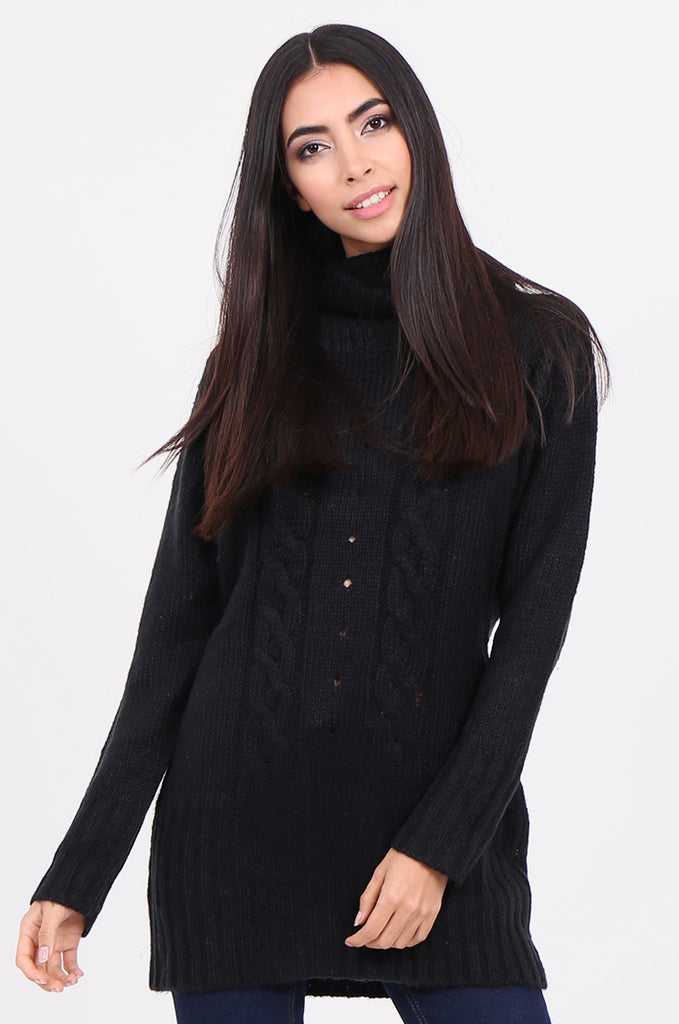 SF2148-BLACK COWL NECK LONGLINE CABLE KNIT JUMPER
