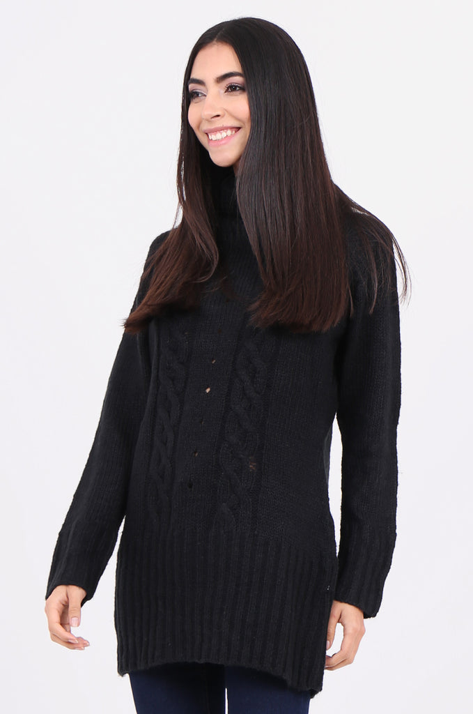 SF2148-BLACK COWL NECK LONGLINE CABLE KNIT JUMPER view 2