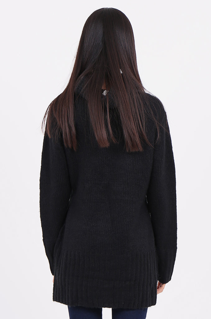 SF2148-BLACK COWL NECK LONGLINE CABLE KNIT JUMPER view 3