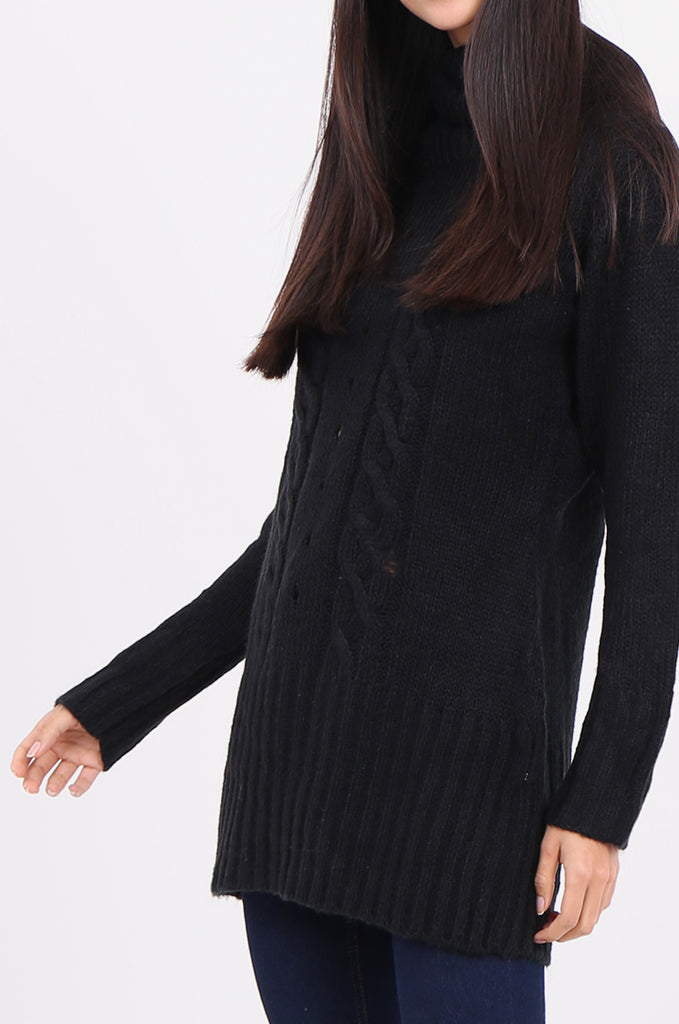 SF2148-BLACK COWL NECK LONGLINE CABLE KNIT JUMPER view 5