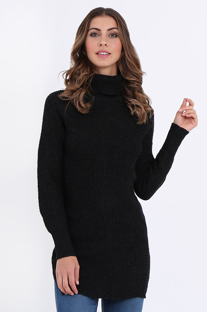SF2161-BLACK WAFFLE KNIT COWL NECK JUMPER view main view