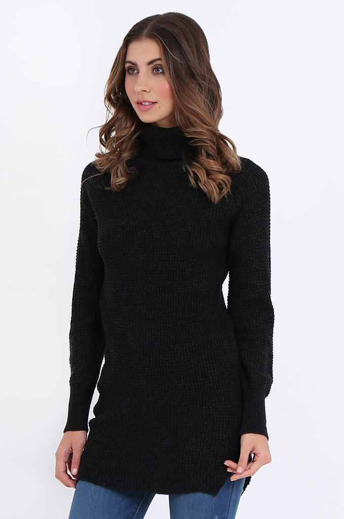 SF2161-BLACK WAFFLE KNIT COWL NECK JUMPER view 2