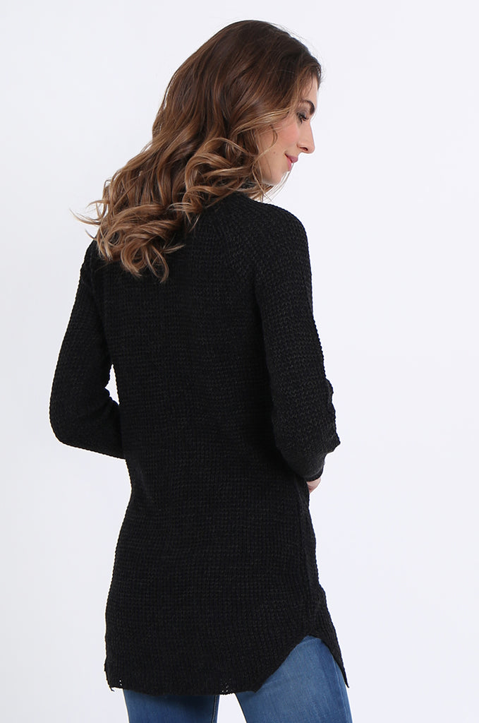 SF2161-BLACK WAFFLE KNIT COWL NECK JUMPER view 3