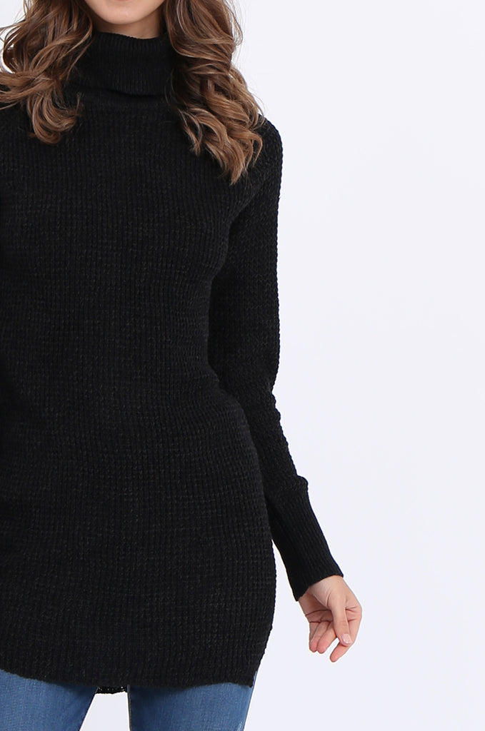 SF2161-BLACK WAFFLE KNIT COWL NECK JUMPER view 5
