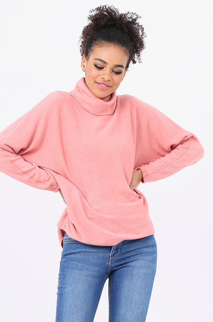 SF2209-PINK RELAXED FIT COWL NECK SWEATER view 2