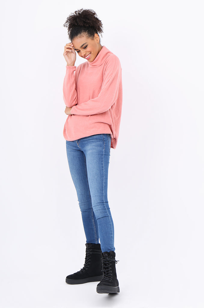 SF2209-PINK RELAXED FIT COWL NECK SWEATER view 4