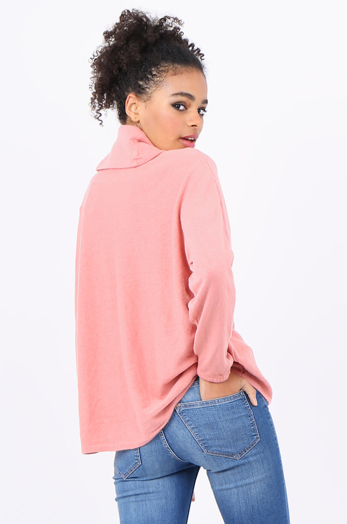 SF2209-PINK RELAXED FIT COWL NECK SWEATER view 3