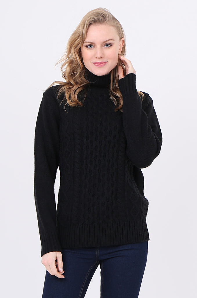 SF2232-BLACK CABLE FRONT ROLL NECK JUMPER