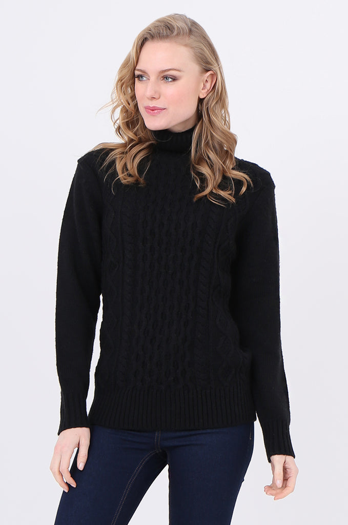 SF2232-BLACK CABLE FRONT ROLL NECK JUMPER view 2