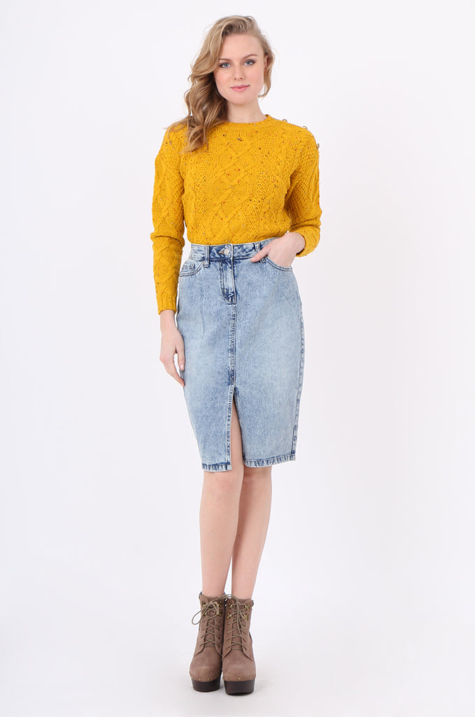 SF2237-BLUE DENIM SLIT FRONT SKIRT view main view