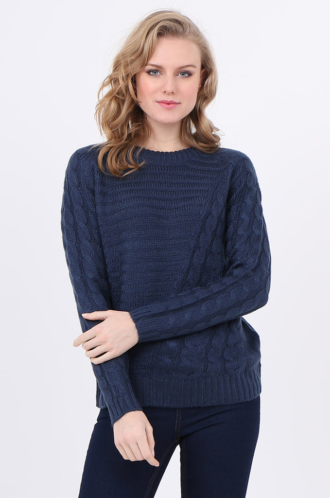 SF2250-BLUE ASYMMETRIC CABLE KNIT JUMPER view main view