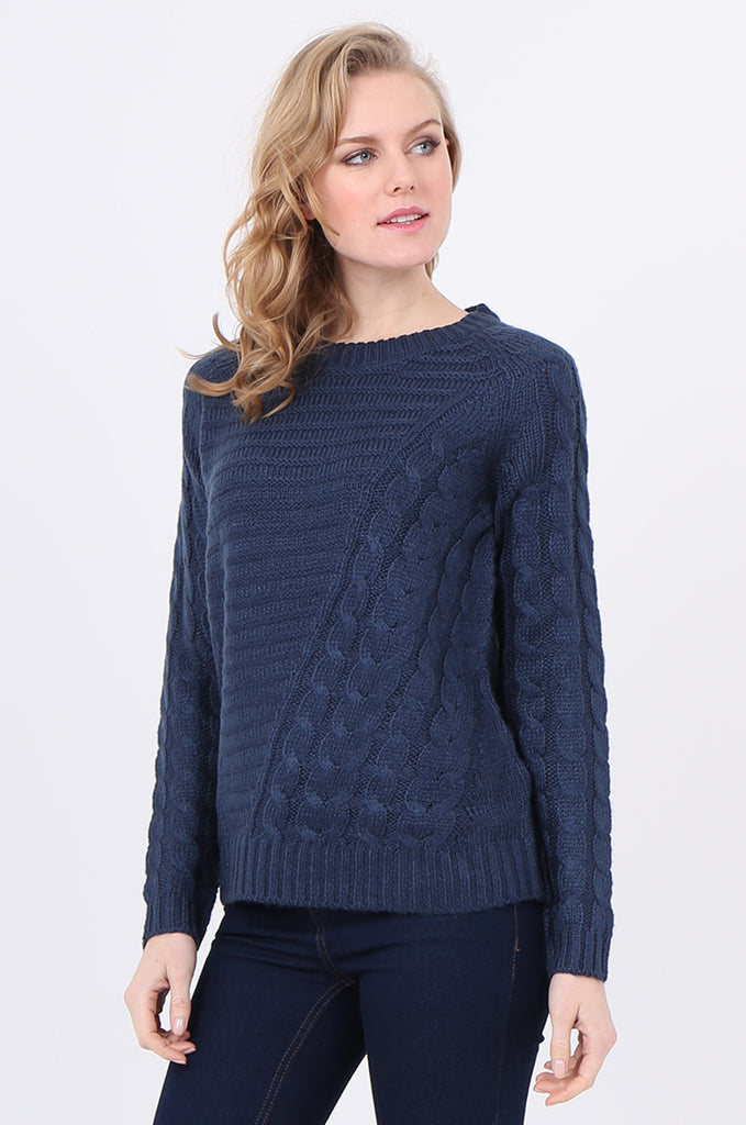 SF2250-BLUE ASYMMETRIC CABLE KNIT JUMPER view 2