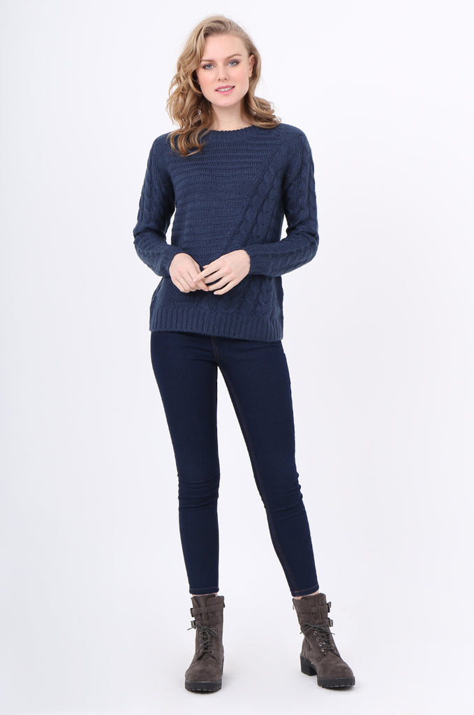 SF2250-BLUE ASYMMETRIC CABLE KNIT JUMPER view 4