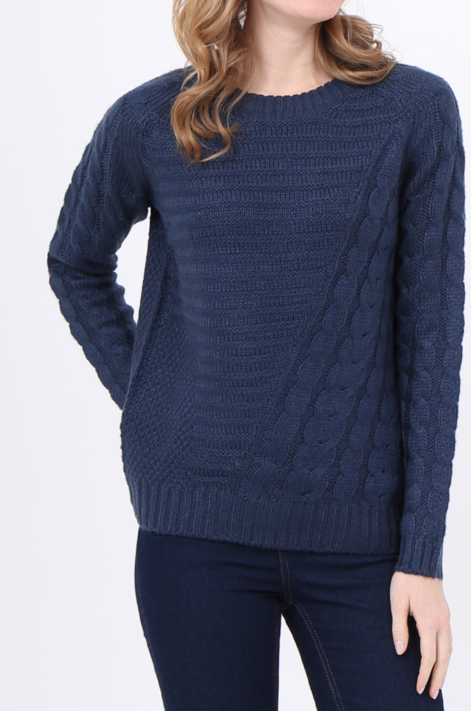 SF2250-BLUE ASYMMETRIC CABLE KNIT JUMPER view 5