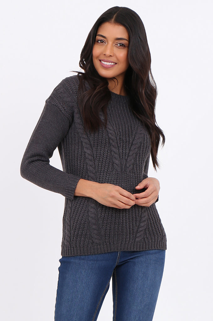 SF2265-CHARCOAL CHEVRON CABLE KNIT JUMPER