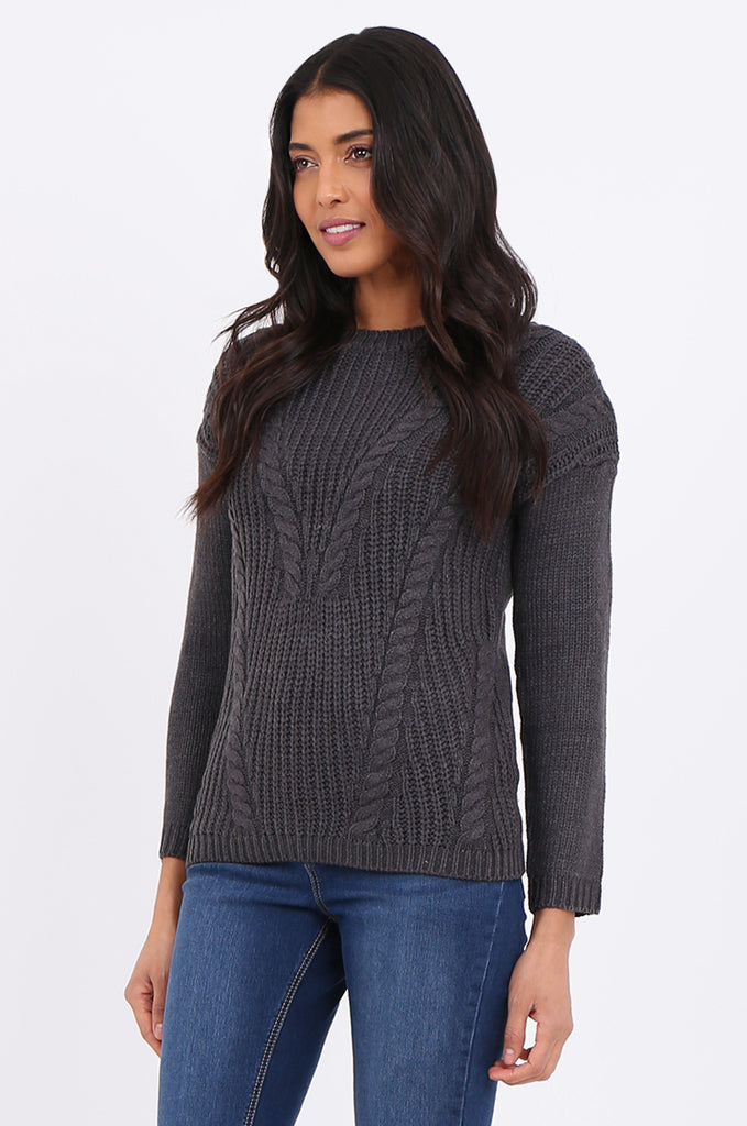 SF2265-CHARCOAL CHEVRON CABLE KNIT JUMPER view 2