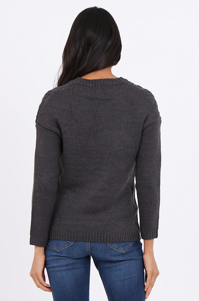 SF2265-CHARCOAL CHEVRON CABLE KNIT JUMPER view 3