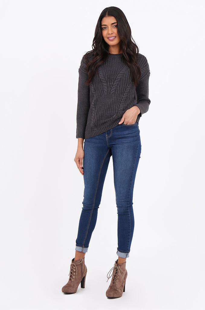 SF2265-CHARCOAL CHEVRON CABLE KNIT JUMPER view 4