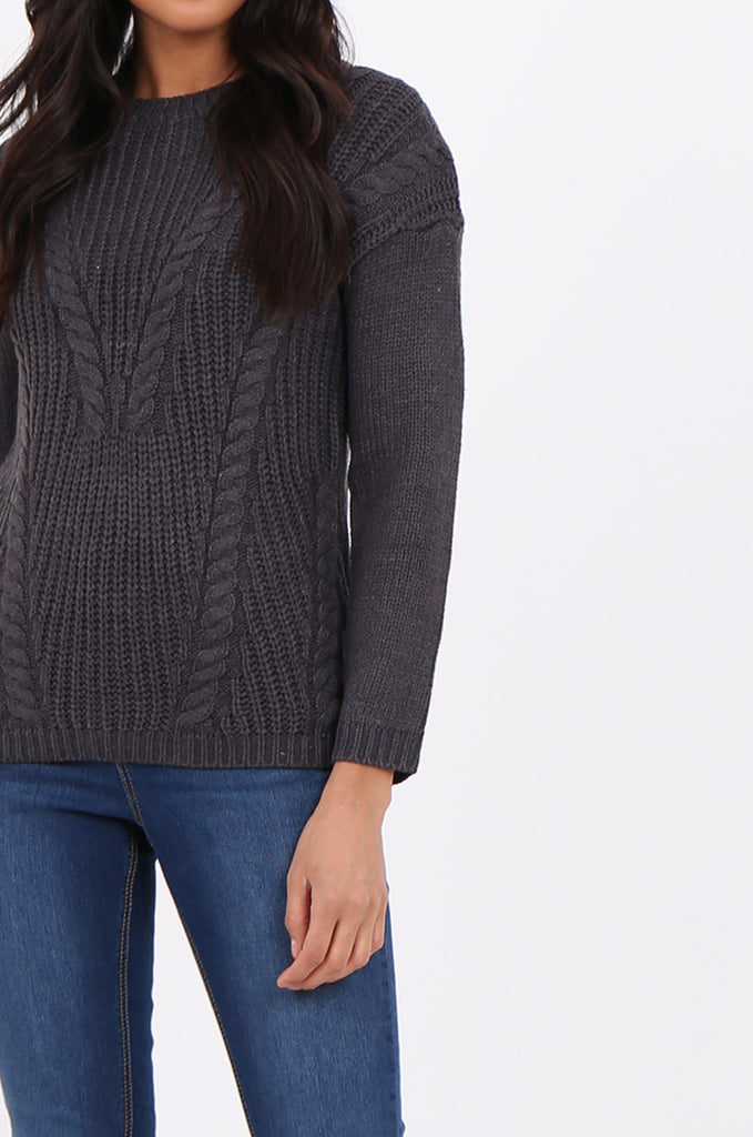 SF2265-CHARCOAL CHEVRON CABLE KNIT JUMPER view 5