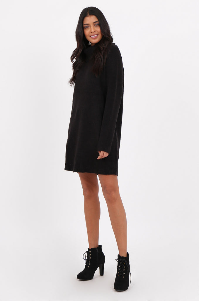 Sf2273 Black Cowl Neck Sweater Dress