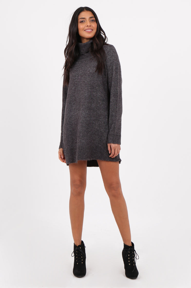 sf2273-grey cowl neck sweater dress - 12