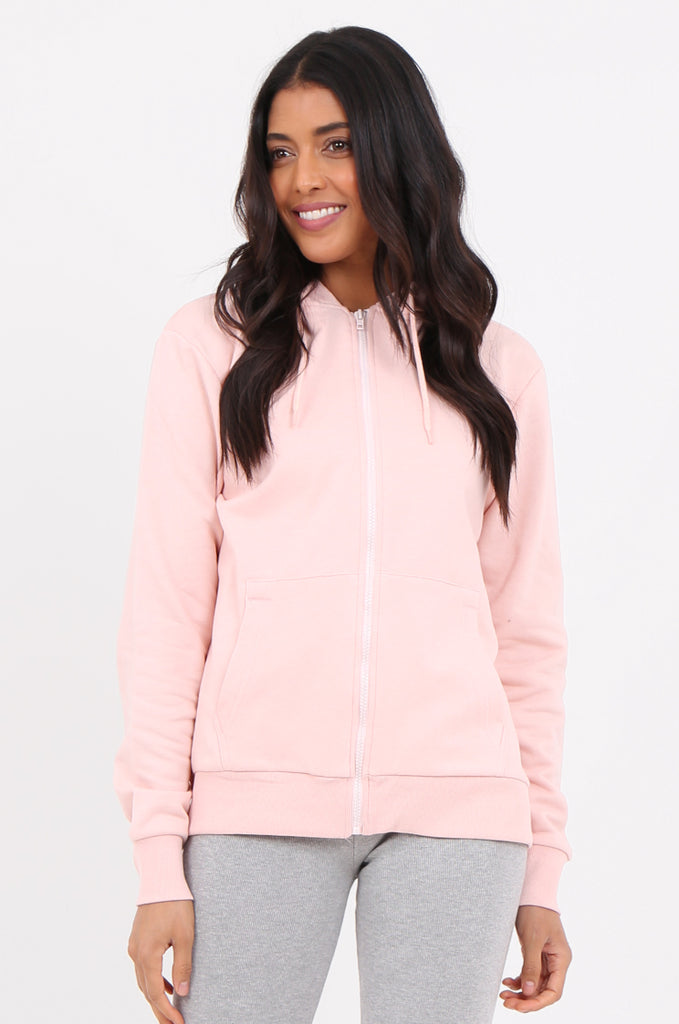 SF2275-PINK HOODED ZIP FRONT SWEATSHIRT view main view