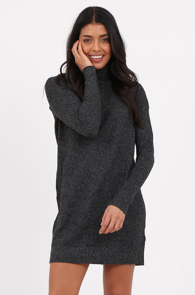 SF2278-BLACK ROLL NECK SWEATER DRESS view 2