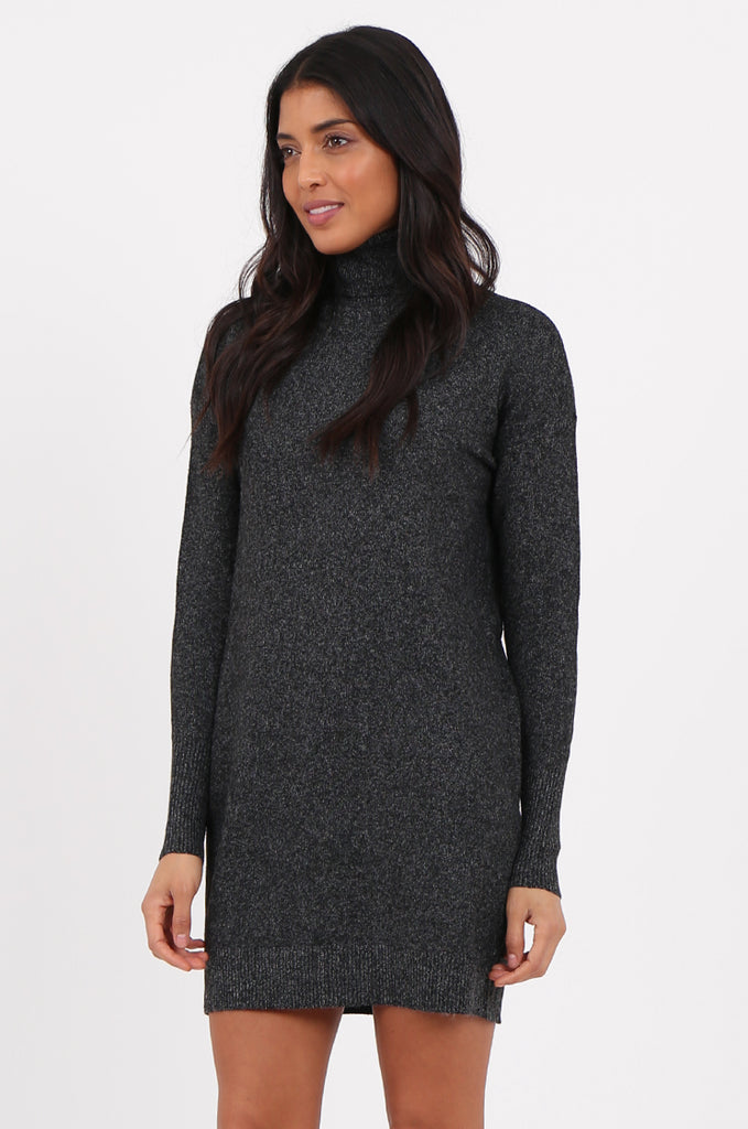 SF2278-BLACK ROLL NECK SWEATER DRESS view 3