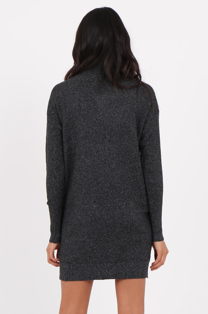 SF2278-BLACK ROLL NECK SWEATER DRESS view 4