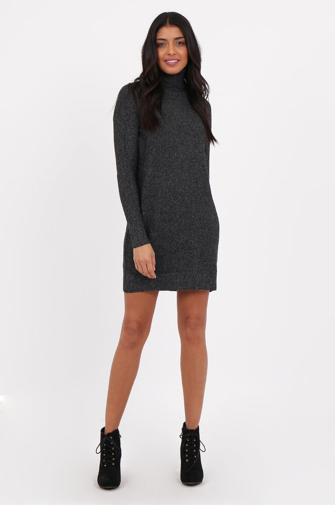 SF2278-BLACK ROLL NECK SWEATER DRESS view main view