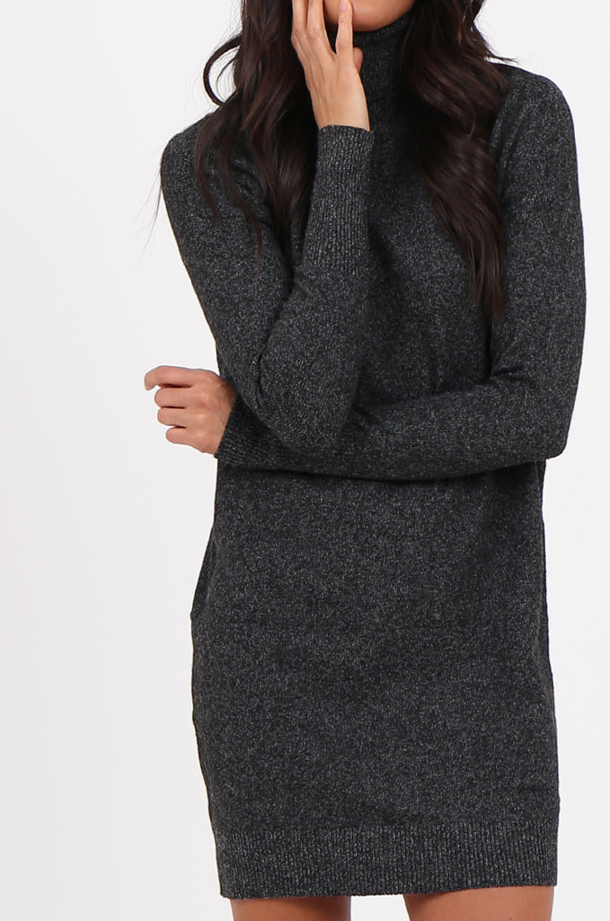 SF2278-BLACK ROLL NECK SWEATER DRESS view 5
