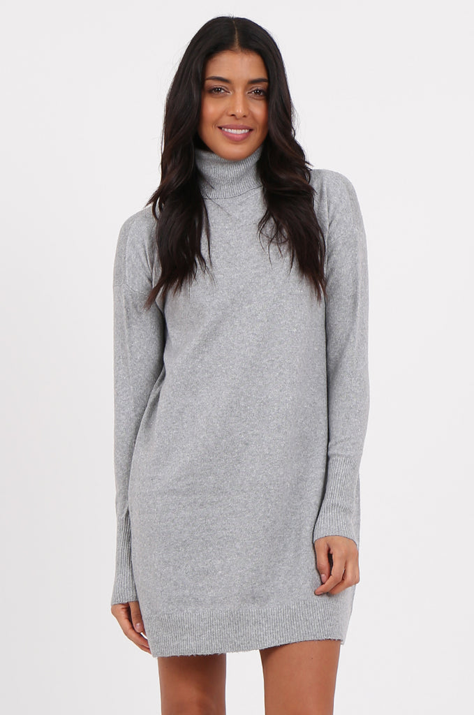 SF2278-GREY ROLL NECK SWEATER DRESS view 2