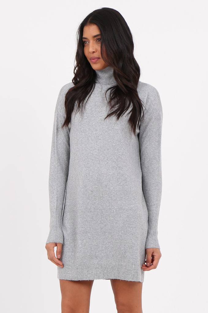 SF2278-GREY ROLL NECK SWEATER DRESS view 3