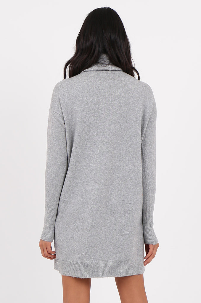 SF2278-GREY ROLL NECK SWEATER DRESS view 4
