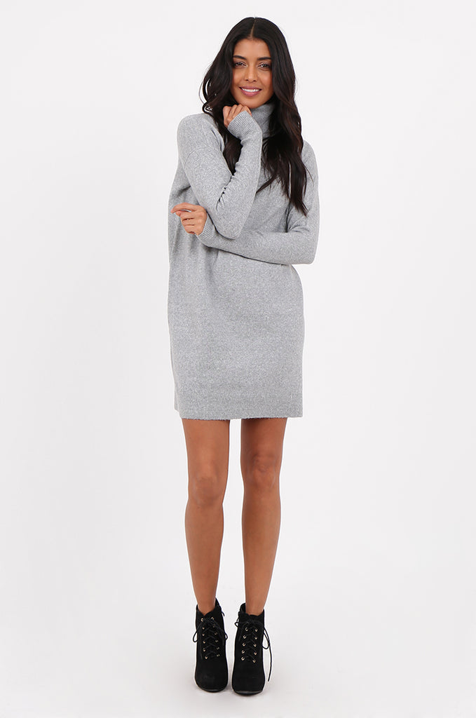 SF2278-GREY ROLL NECK SWEATER DRESS view main view